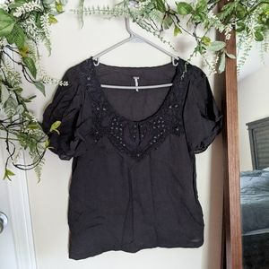 Free People Floral Embroidered Tee